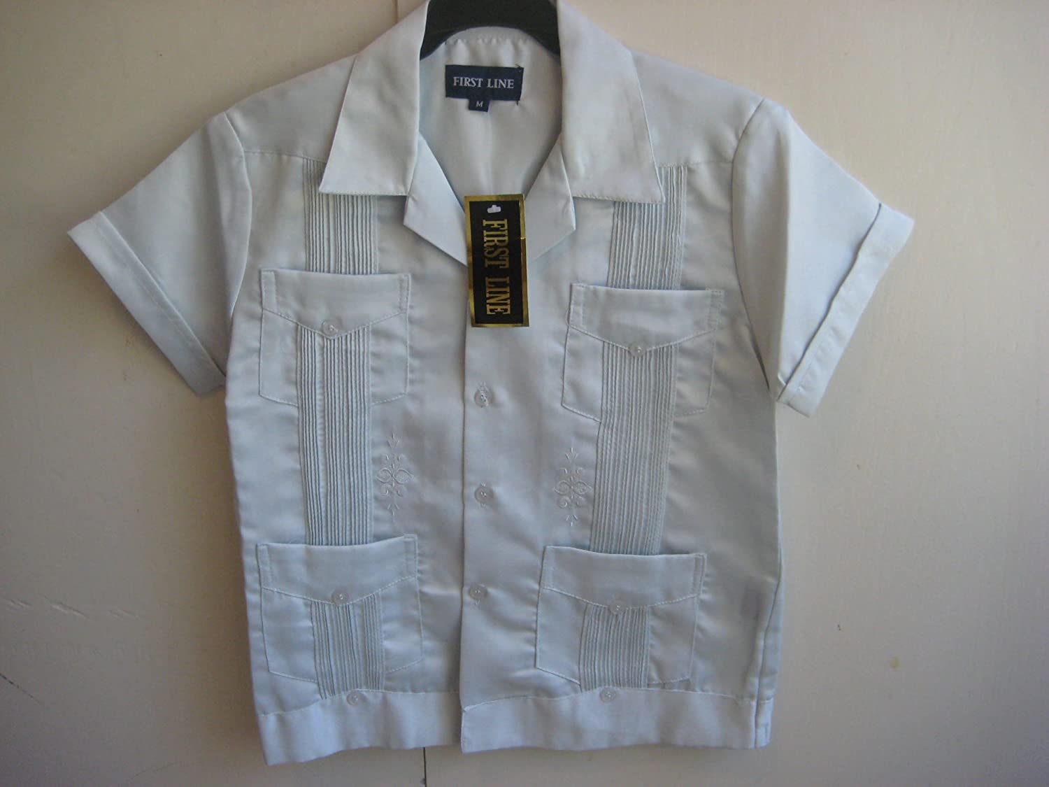 New Boy Satin Guayabera Mexican Wedding Shirt Embroidered Front & Back,Size M, Color: L. Grey