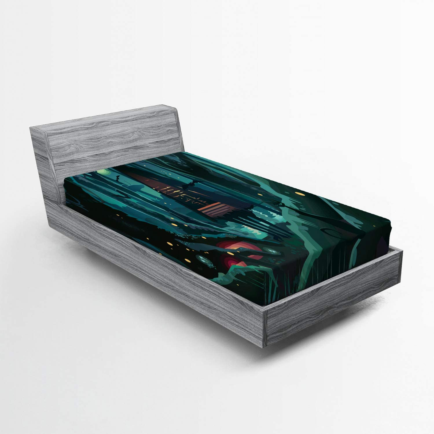 Lunarable Forest Fitted Sheet Spooky Theme Save All items free shipping money in with House a Wood