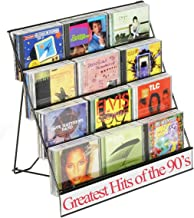 Set of 2 -Black Wire Display Rack, Four-Tiered Magazine Stand with 2-1/2 Inch Pockets - Perfect for CDS!