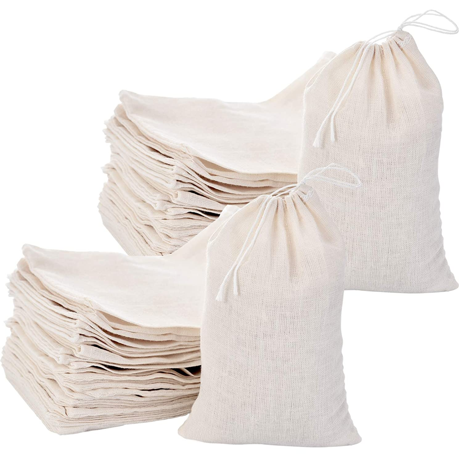 Tatuo 200 Pack Cotton Muslin Bags Burlap Bags Sachet Bag Multipurpose Drawstring Bags for Tea Jewelry Wedding Party Favors Storage (4 x 6 Inches)