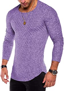 Mogogo Mens Pure Color Ribbed Long Sleeve Fitted Tees Pullover Top