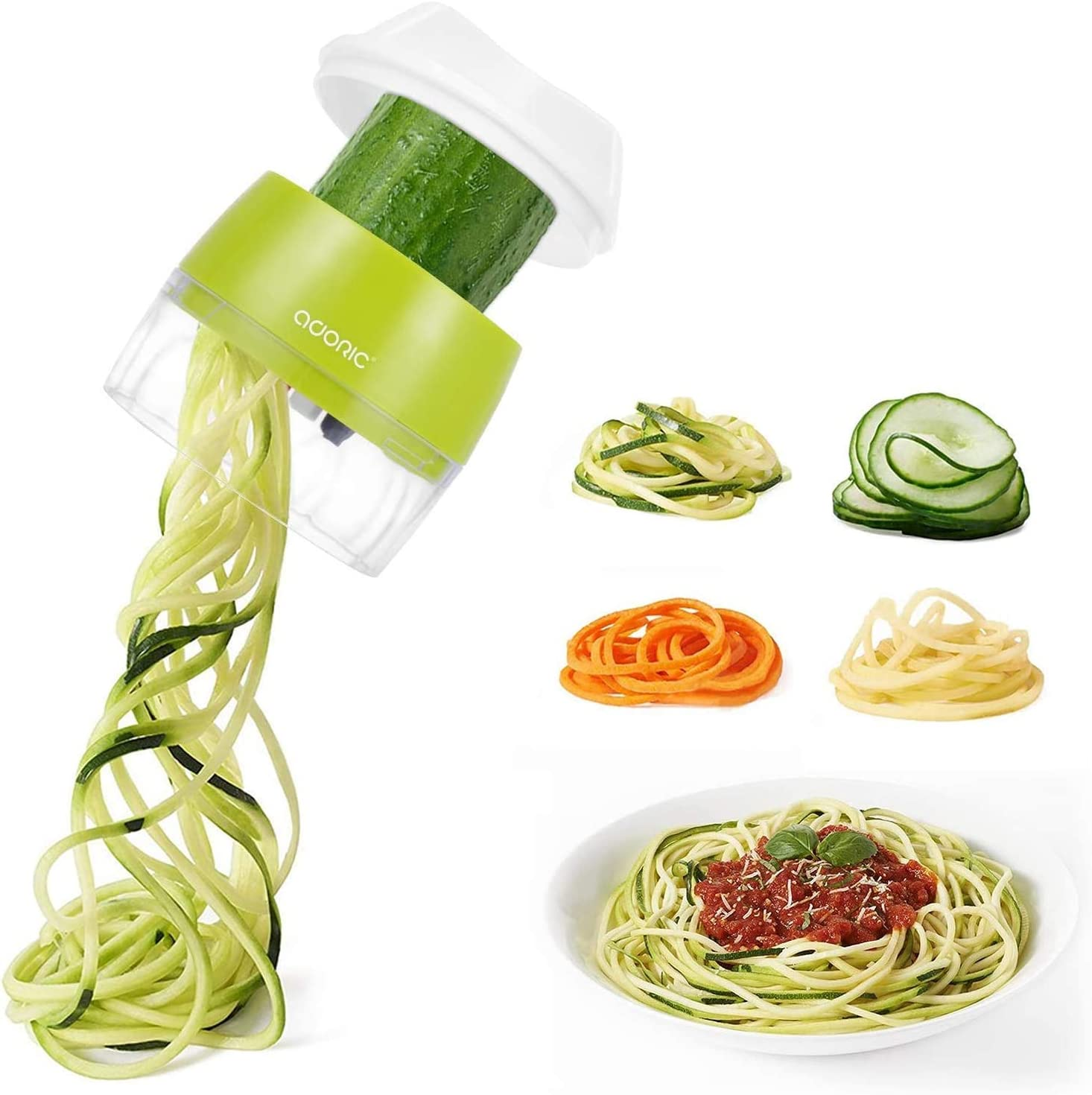 Handheld mart Spiralizer Vegetable Max 77% OFF Slicer Adoric 4 Duty Heavy V 1 in