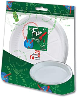 Fun® Everyday Disposable Plastic Plate set, Large,26 cm, Pack of 25