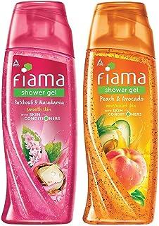 Fiama Patchouli and Macadamia Pure Indulgence Shower Gel, 250ml & Fiama Shower Gel - Peach & Avocado, for Moisturised ski...