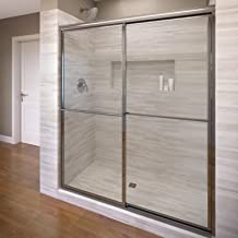 Basco Deluxe Framed Sliding Shower Door, Fits 45-47 inch opening, Clear Glass, Silver Finish