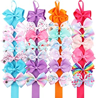 24 Pieces Hair Bows + 4 Pieces Bow Storage Holder Bulk Alligator Clips for Girls Unicorn Grosgrain Ribbon Hair Barrettes Accessories for Toddler Kids