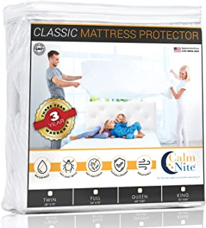 CALM NITE Mattress Pad Protector - Waterproof & Hypoallergenic Cover, Vinyl Free Topper - Machine Washable… (Queen 60 x 80)