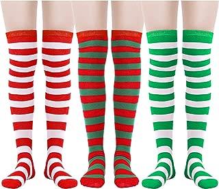 3 Pairs Women Knee Socks Soft Cotton Socks Long Tube Socks for Christmas Favor, Daily Wear