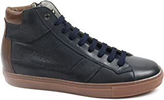 Men's Large Numbers Sports Boot Lace-up with Side Zipper, Blue Leather, Leather Lining, Rubber Bottom and Removable Footbed.