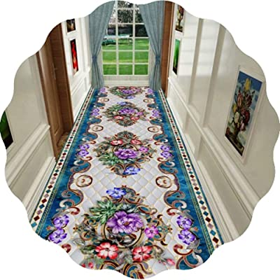 JIAJUAN Hallway Runner Rug 3D Colorful Floral Printed Indoor Area Rugs Non Slip Easy to Clean Home Floor Mat (Color : A, Size : 1x4m)