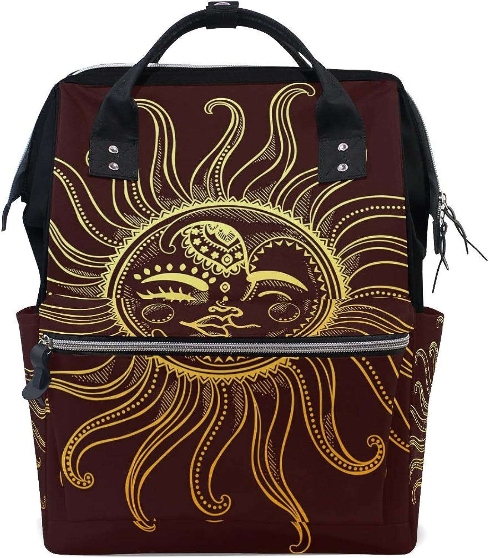 FAJRO Art Sun Moon FaceTravel Backpack Canvas Handbag School Pack