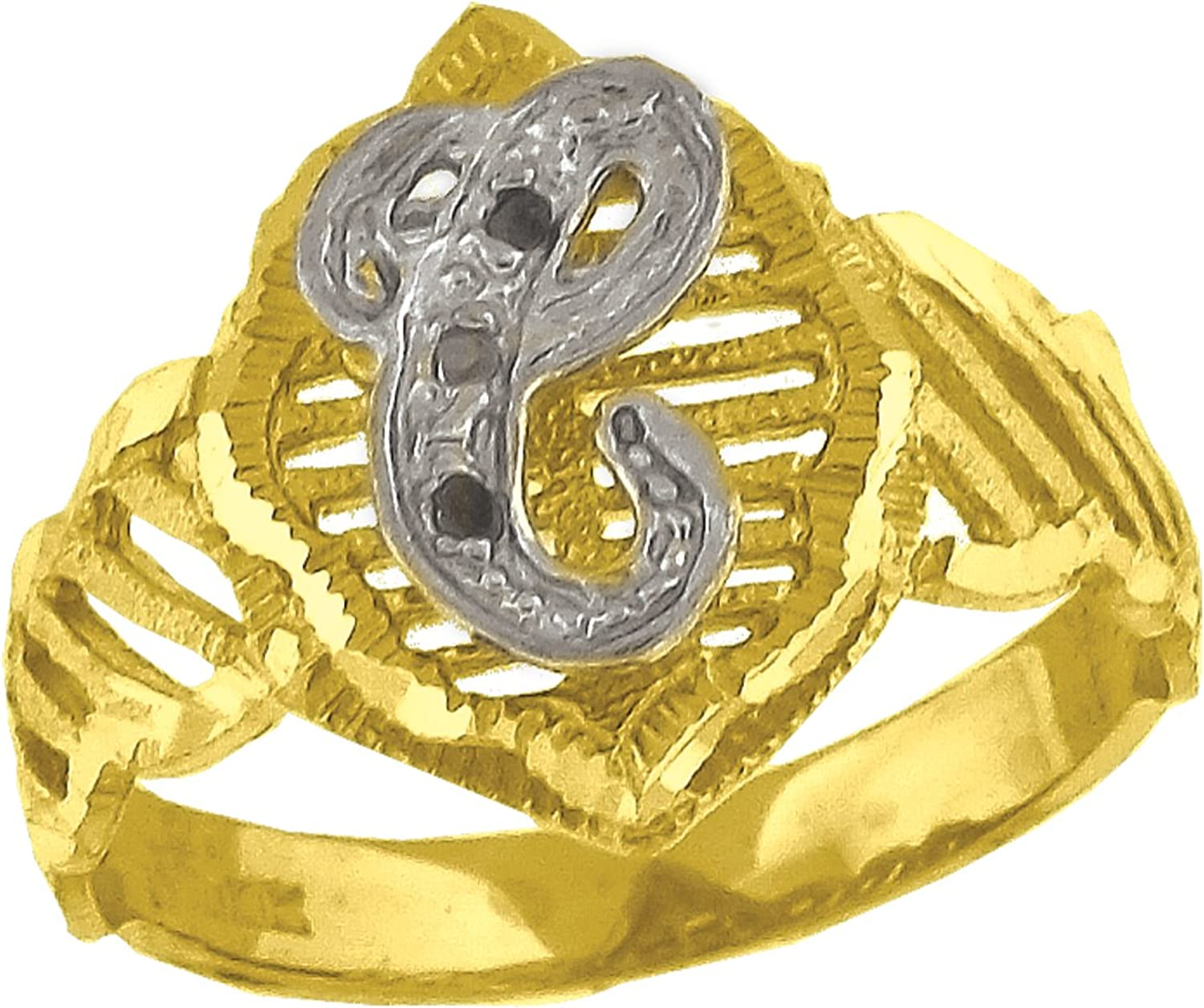 10kt TwoTone gold Womens Round Cubic Zirconia CZ Initial Letter  C  Fashion Ring