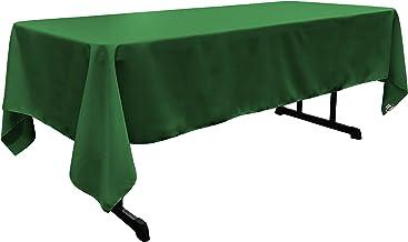 LA Linen Polyester Poplin Rectangular Tablecloth, 60 x 108, Emerald Green