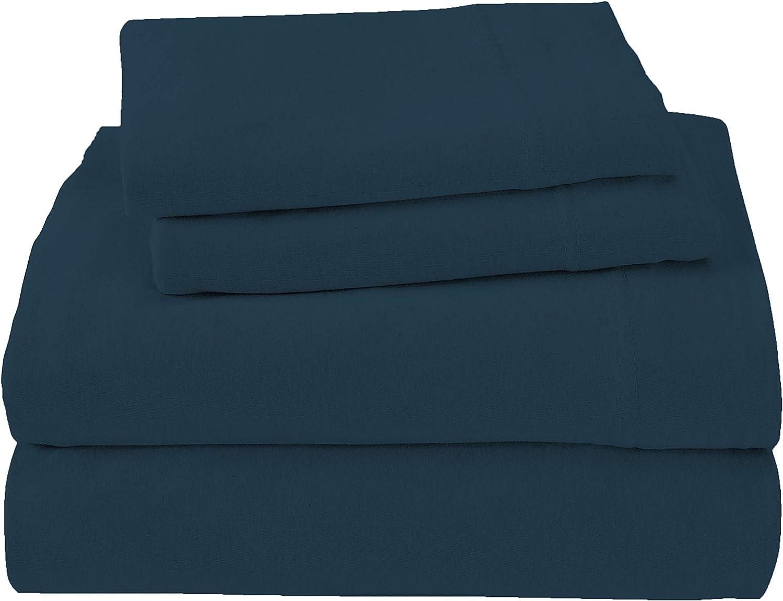Royale Linens Soft Tees Cotton Modal Jersey Knit Sheet Set, Full, Teal Navy