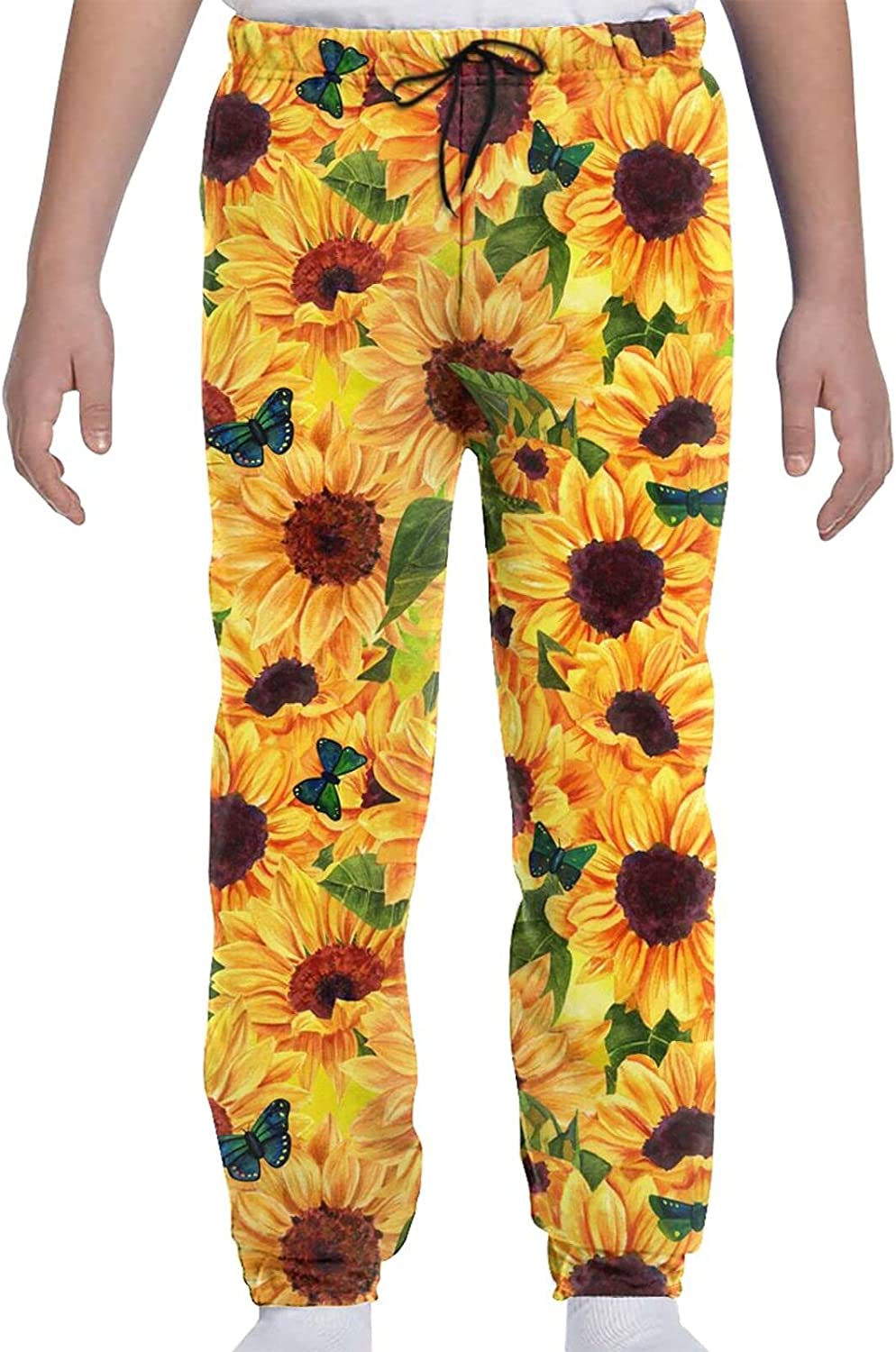 HSXOOW Vibrant Sunflowers and Butterflies Youth Sweatpants for Boy Girl Jogger Pants with Pockets