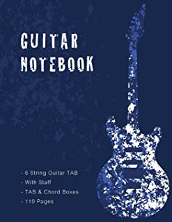 Guitar Notebook: Blue Cover, Music Paper, Blank Manuscript Pages, 6 String Guitar TAB, With Staff, TAB and Chord Boxes, 8....