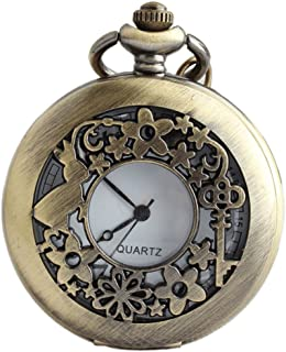 VIGOROSO Watches Alice Rabbit Flower Vintage Retro Steampunk Pocket Watch Gift in Black Box
