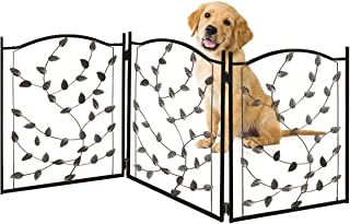 Bundaloo Freestanding Metal Folding Pet Gate | Large Portable Panels for Dog & Cat Security | Foldable Enclosure Gates for Puppies | Indoor & Outdoor Safety for Pets