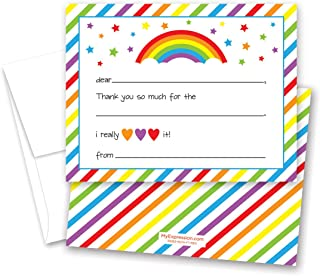 MyExpression 20 cnt Rainbow Fill in Thank You Cards and Envelopes