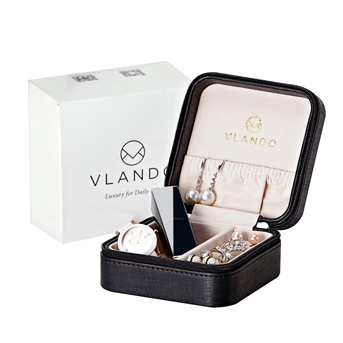 Vlando Small Travel Jewelry Box Organizer Display Storage Case for Rings Earrings Necklace (Black)