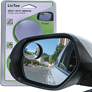 """LivTee Blind Spot Mirror, 2"""" Round HD Glass Frameless Convex Rear View Mirror with wide angle Adjustable Stick for Cars SU..."""