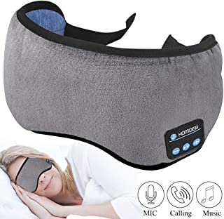 Homder Sleep Headphones Bluetooth 5.0 Eye Mask for Men Women, Noise Cancelling Sleeping Mask Block Light, Soft Comfort with Adjustable Strap for Sleeping, Meditation, Travel, Washable