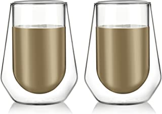 Amlong Crystal Lead Free Double Wall Glass For Old-fashioned Whiskey Glasses, Classic Scotch Whiskey Glasses, Vodka Rocks Glasses, Lowball Glasses for Liquor, 8 Ounce, Set of 2