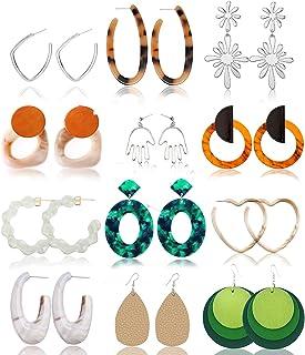 GOJINXI Earrings for Women Set Hoops Dangle Bohemian Earrings Tassel Acrylic