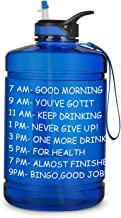 Opard Gallon Water Bottle with Time Marker Straw and Handle 128oz 1 Gallon Water Jug BPA Free Motivational Big Large Sport...
