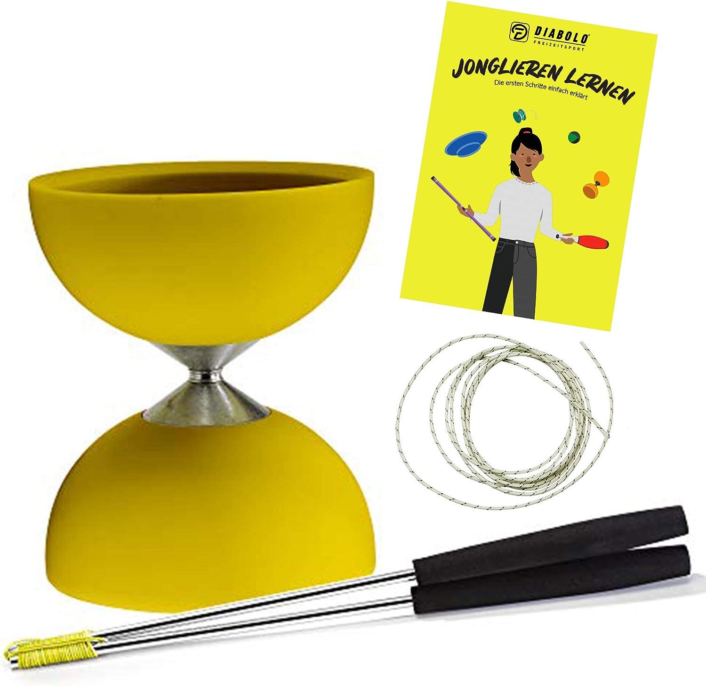 Diabolo Freizeitsport Juego de malabares Acrobat con diábolo (amarillo) y palos de aluminio con cuerda de repuesto Henrys, ideal para niños, principiantes y principiantes, incluye instrucciones (idiom