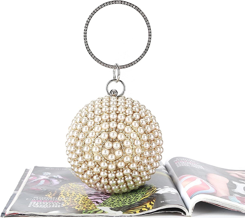 ATHH Clutch Purses for Women Evening,Round Ball Wedding Handbag Artificial Pearl Purse,Crossbody Shoulder Handbag