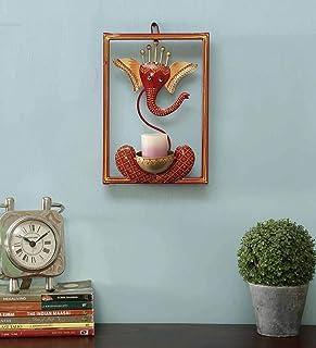 CraftVatika Ganesha Idol Iron Wall Hanging Showpiece Tea Light Candle Holder Stand for Home Living Room Decoration