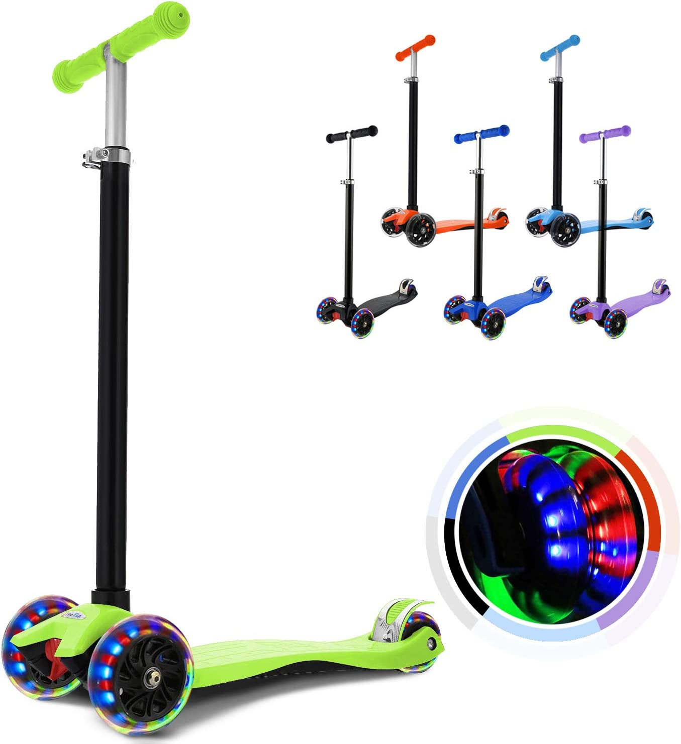 Adjustable Height Kids Scooter for Boys and Girls 3-12 WeSkate Kick Scooter for Kids 3 Wheels LED Light Flashing PU Wheels