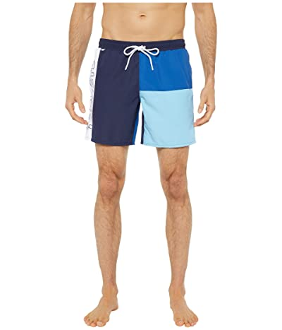 Lacoste Color-Block and Printed Mid Length Swim Trunks (Navy Blue/Electric/Barbeau Blue/White) Men