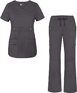 Adar Uniforms Women`s Scrub Set - Crossover Top and Multi Pocket Pants