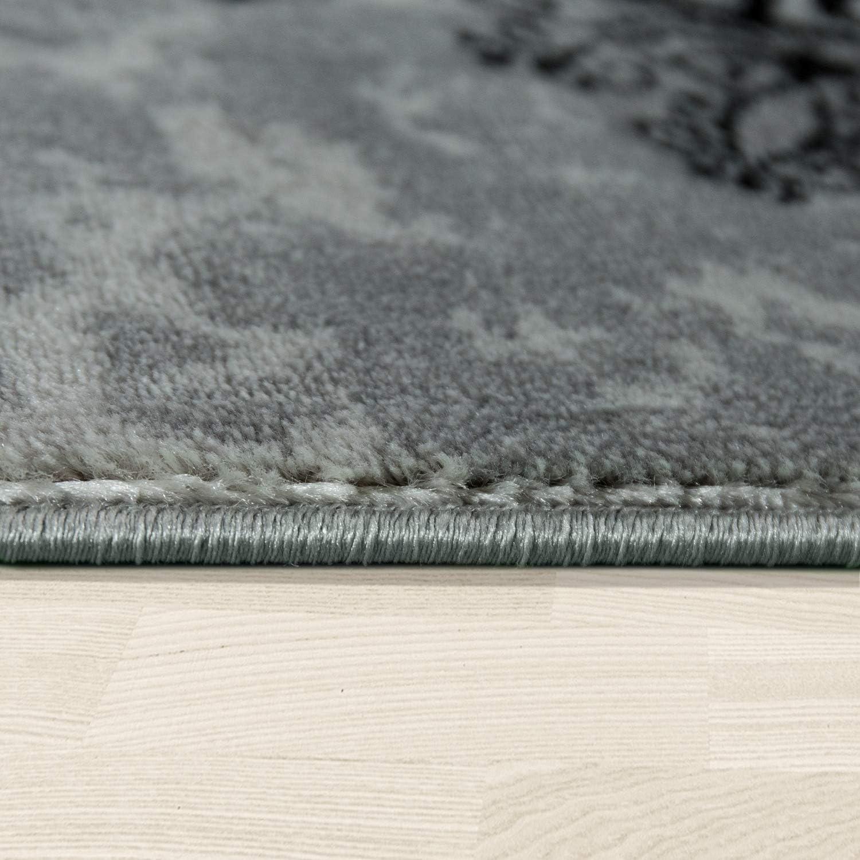Gr/össe:60x100 cm Paco Home Designer Teppich Wohnzimmer Mandala Muster Kurzflor Barock Stil In Grau Schwarz