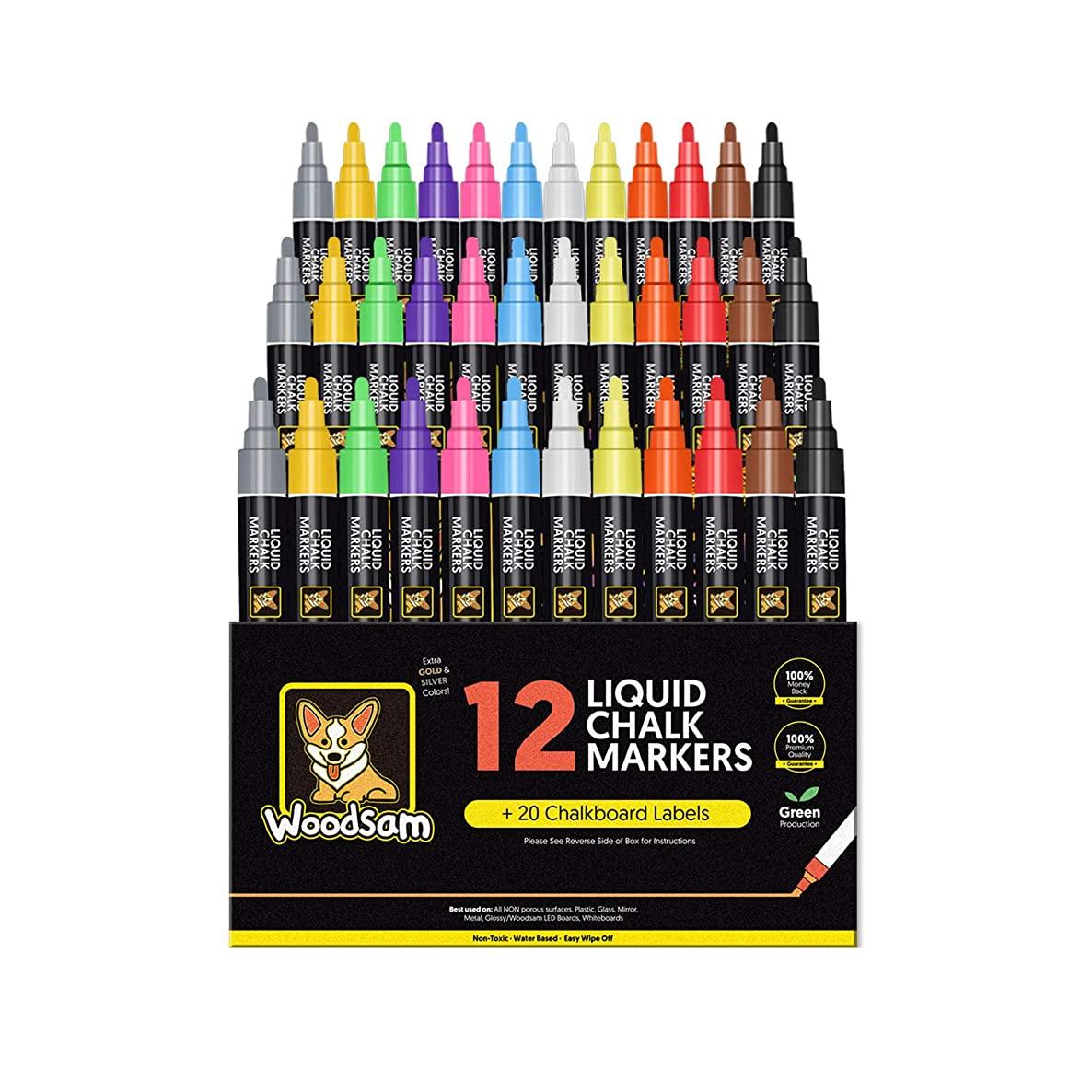 Chalk Markers by Woodsam - Liquid Neon Pens -Chalkboard, Glass, Window Labels & Reversible Bullet and Chisel-Fine Tips Included - Erasable Color Paint (36-Pack)