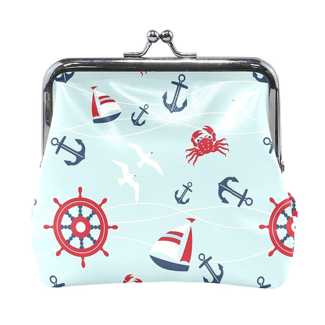 ずんぐりしたメリードレスGORIRA(ゴリラ) 船柄 海 ブルー 超繊レザー&木綿 人気財布 ブランド がま口式小銭入れ ミニがま口