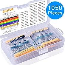 AUSTOR 1050 Pieces Resistor Kit 38 Values 1% Resistors 0 Ohm-1M Ohm 1/4W Metal Film Resistors Assortment for DIY Projects and Experiments