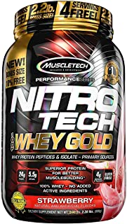 Muscletech ニトロテック 100% ホエイゴールド(アイソレート+ペプチド)(ストロベリー)(1kg)[海外直送品]