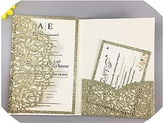 1Pcs Hollow Laser Cut Tri-Fold White Rose Flower Pocketfold Wedding Invitation Card Pocket,Light Gold Glitter,Set