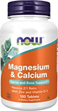 NOW Supplements, Magnesium & Calcium, With Zinc and Vitamin D-3, Nerve and Bone Support*, 100 Tablets