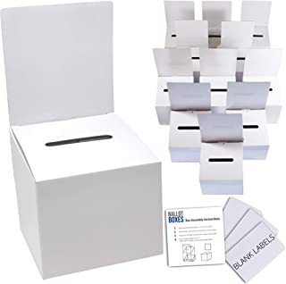 Ballot Box for Suggestions Donations Raffles White Glossy Cardboard Boxes with Removable Header in Medium Size 6x6x6 inche...