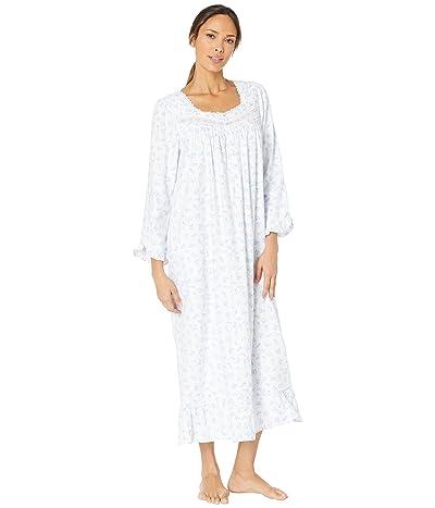 Eileen West Cotton Rayon Flannel Woven Ballet Nightgown (White Ground/Crocus) Women