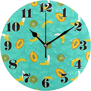 Night Ing Reloj de Pared Redondo Patrón de plátano Kiwi Reloj de Arte Decorativo para Sala de Estar Dormitorio Oficina