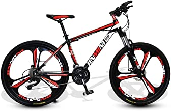 HCMNME Durable Bicycle, 24 inch Mountain Bike Adult Men and Women Variable Speed Transportation Bicycle Three-Knife Wheel ...