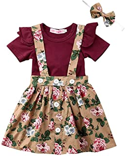 3Pcs Infant Toddler Baby Girl Outfit Ruffle Romper Top+Suspender Braces Skirt Overalls Clothes Set