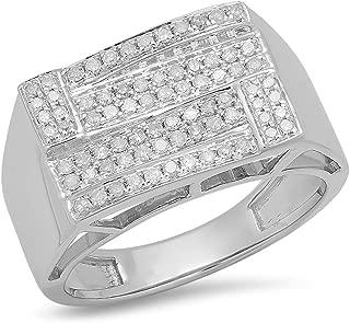 0.50 Carat (ctw) Round White Diamond Men's Micro Pave Hip Hop Wedding Band 1/2 CT, Sterling Silver