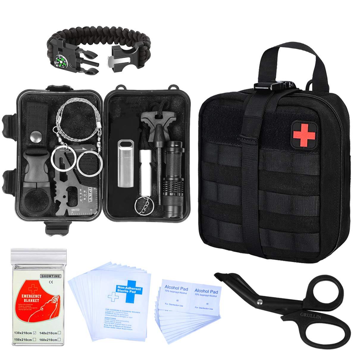 GRULLIN Kit de Supervivencia 44 en 1 Equipo de Supervivencia de Primeros Auxilios de Emergencia Kit de Herramientas de Bolsa IFAK, Oficina en el hogar Coche Senderismo Caza Camping Aventura: Amazon.es: Deportes