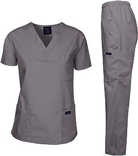Dagacci Scrubs Medical Uniform Women and Man Scrubs Set Medical Scrubs Top and Pants, Petwer Gray, Small